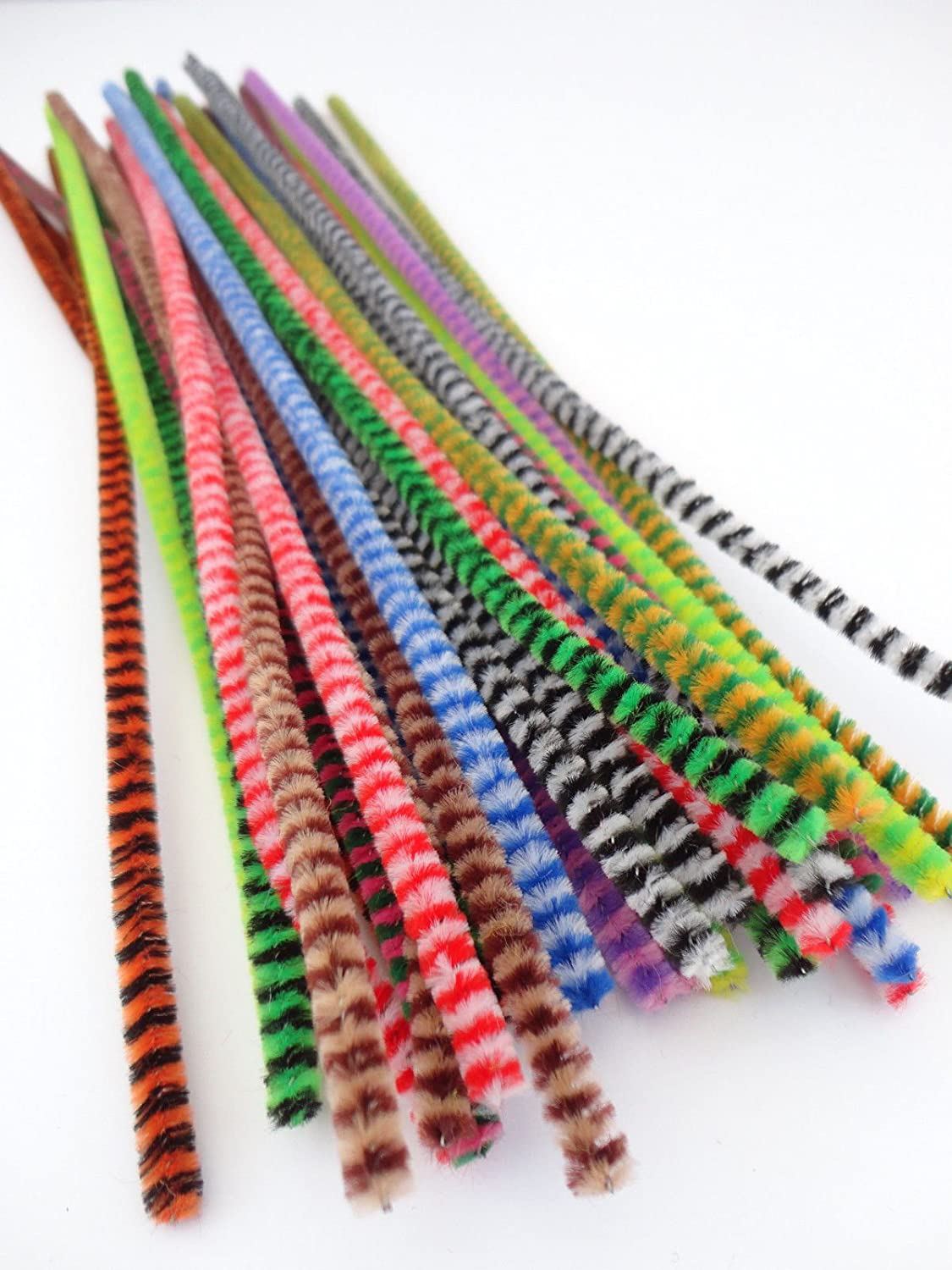 25 Or 50 Chenille Tiger Tails Stripe Craft Pipe Cleaners Stems - 12