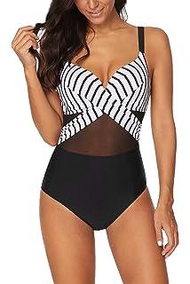 617888121b7 Women's Deep V Neck Padded Push up One Piece Vintage Swimsuits Tummy  Control Bathing Suits Swimwear