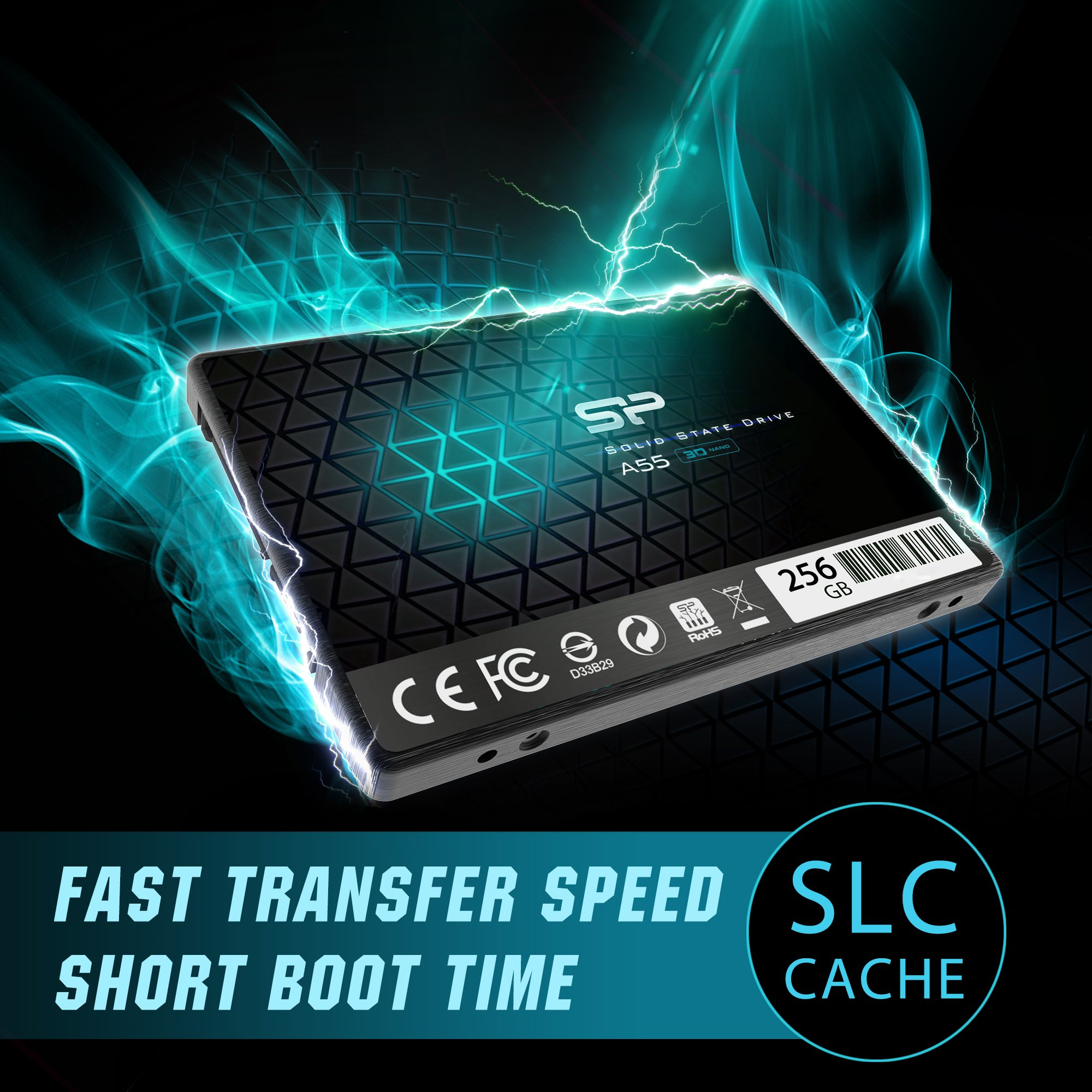 Silicon Power 256GB SSD 3D NAND A55 SLC Cache Performance Boost SATA III 2.5'' 7mm (0.28'') Internal Solid State Drive (SP256GBSS3A55S25) by SP Silicon Power (Image #3)