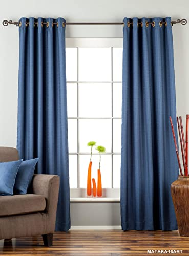 Indian Selections Lined-Blue Ring Top Matka Raw Silk Curtain Drape – 80W x 96L – Piece