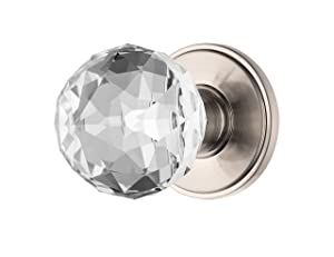 Decor Living, AMG and Enchante Accessories Faceted Crystal Door Knobs, Passage Function for Hall and Closet, IRIS Collection, Satin Nickel