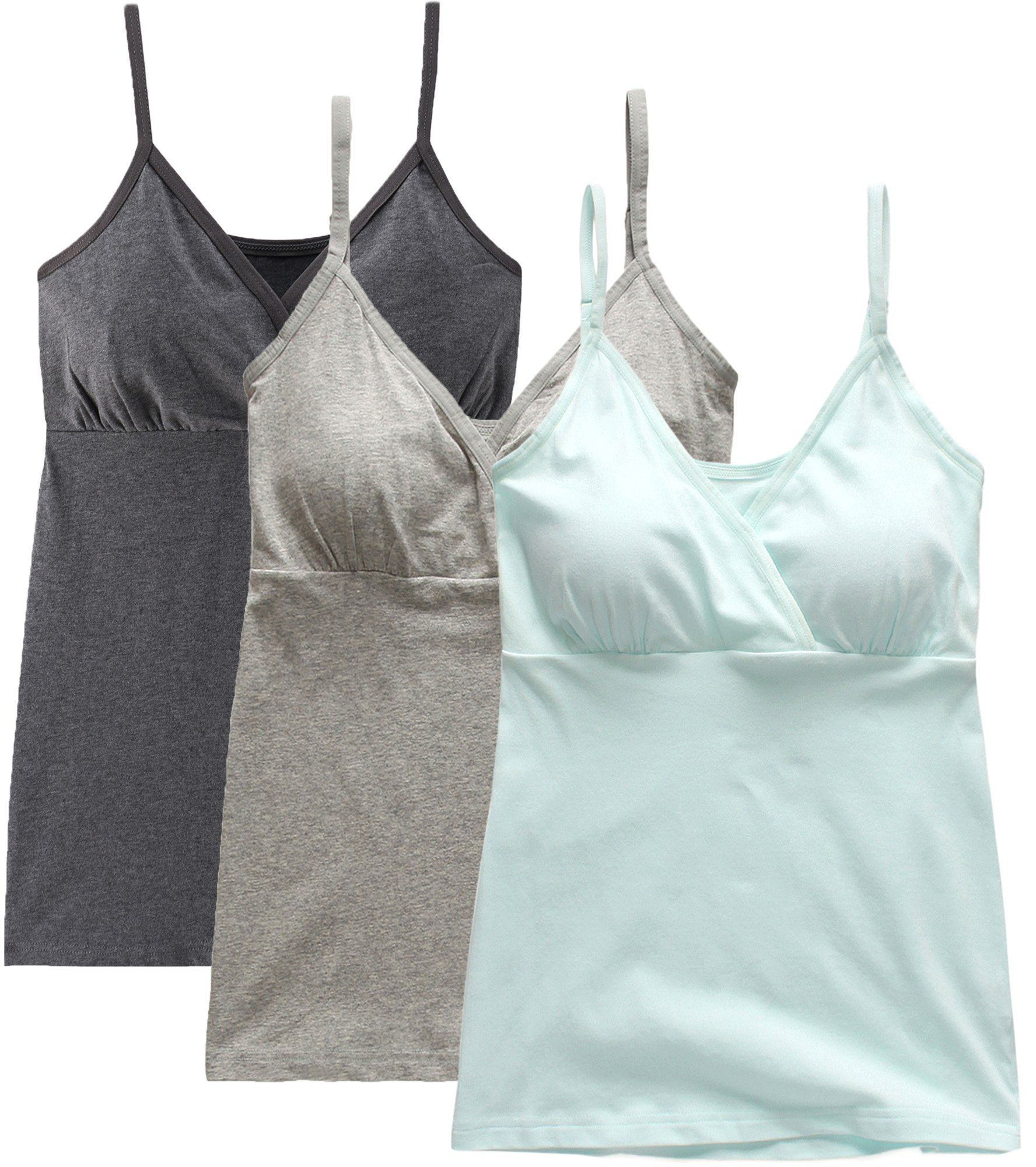 Nursing Tank Tops, Maternity Nursing Bras Camisole Pajamas For Breastfeeding (Large: Fits for Weight 150-170 lb, Dark Grey+Grey+Light Blue (3Pcs)) by SUIEK