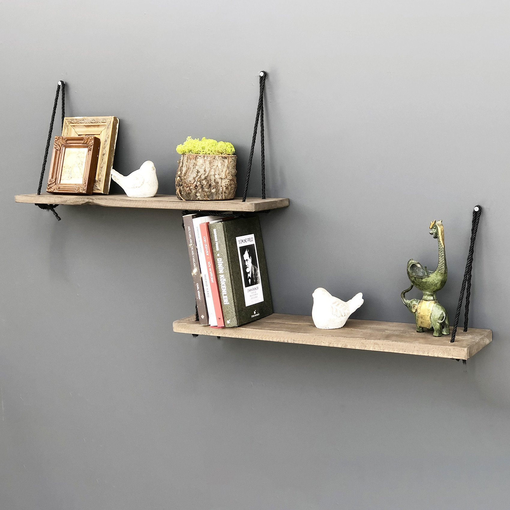LaModaHome Handmade Wall Shelf with Rope, 100% Solid Wood - Size (23.6'' x 0.6'' x 5.1''), Easy to Hang with Invisible Brackets, Wall Mounted Floating Shelves for Home & Office