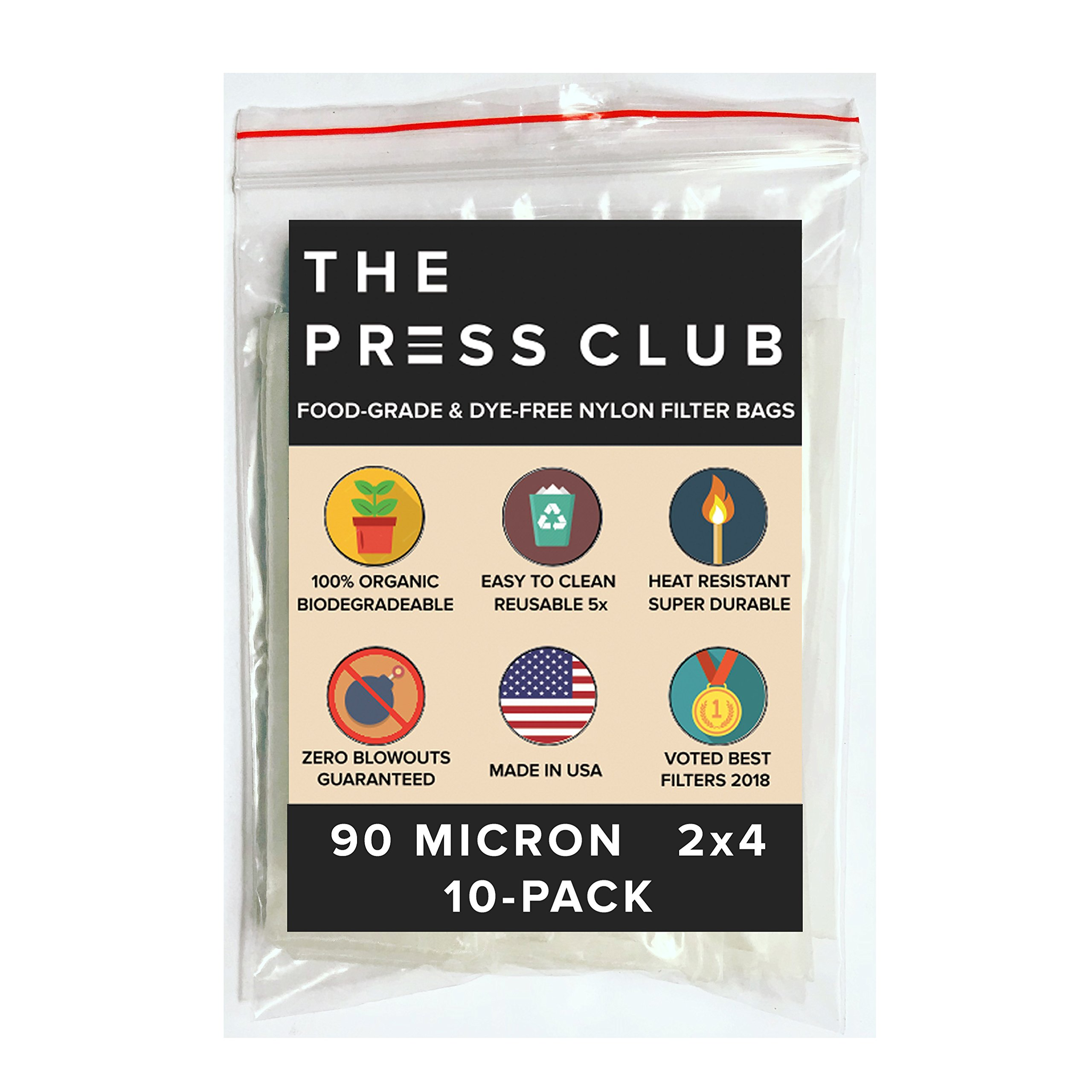 90 Micron | Premium Nylon Rosin Tea Filter Screen Press Bags | 2'' x 4'' | 10 Pack | Zero Blowout Guarantee | All Micron & Sizes Available by The Press Club