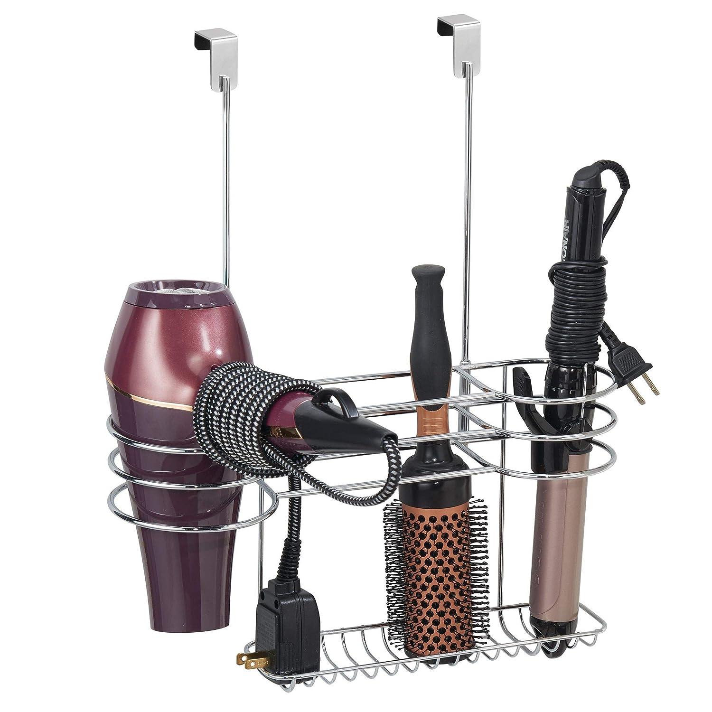 mDesign Bathroom Over The Door Hair Tools Organizer Straightener, Curling Iron, Brushes - Chrome MetroDecor