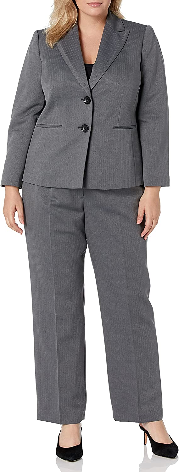 Le Suit Women's Striped Herringbone 2 S Notch Very popular Recommended Collar Button Pant