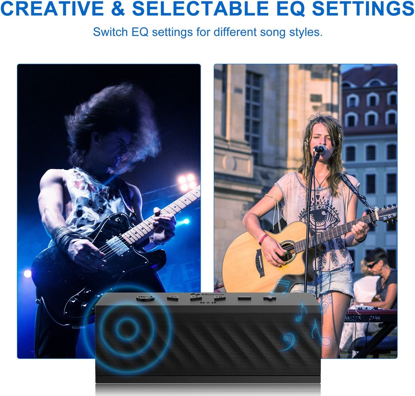 16W Portable Wireless Speaker Black Premium Sound with Enhanced Bass and Selectable Sound Effects Built-in Mic with Siri HUSSAR Bluetooth Speakers IPX5 Waterproof