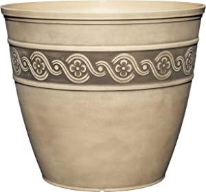 """Classic Home and Garden 9411D-060 Corinthian Round Planter, 10"""", Ivory Ash"""