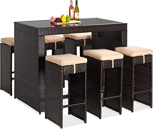 Best Choice Products 7-Piece Outdoor Wicker Bar Dining Set