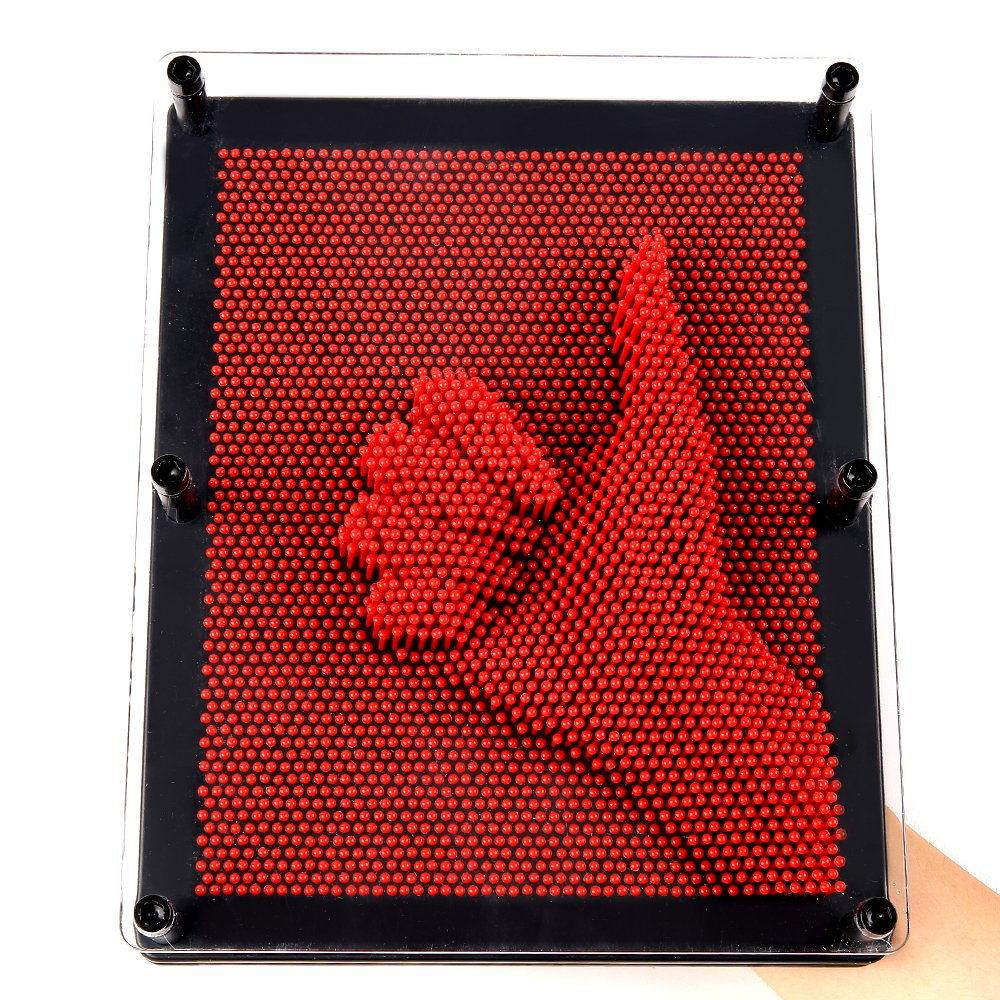 E-FirstFeeling 3D Pin Art Sculpture Extra Large 10'' X 8'' Pin Impression Hand Mold Board Toy - Red