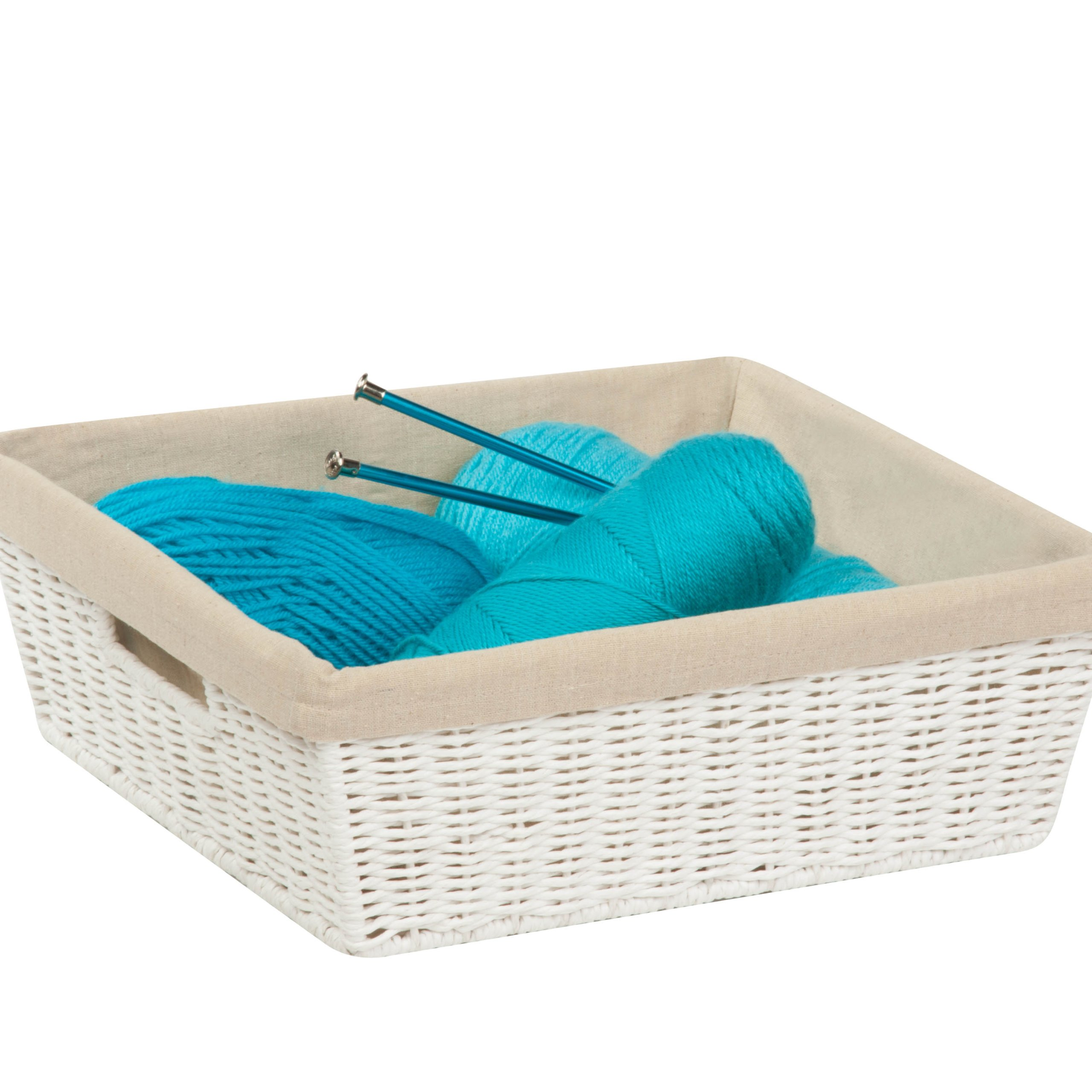 Honey-Can-Do STO-03559 Parchment Cord Basket with Handles and Liner, White, 13 x 15 x 5 inches