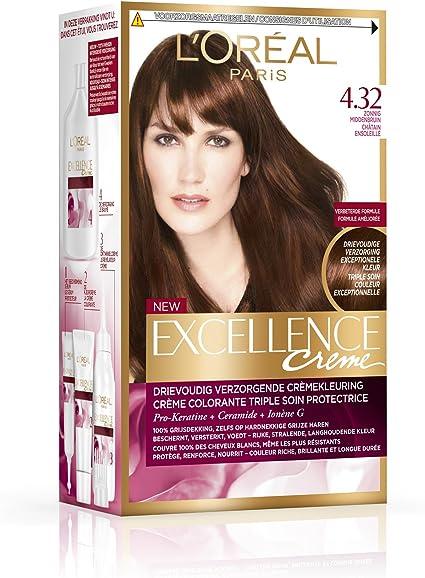 X3 Coloración L Oreal Excellence Creme Chatain soleado n4.32 ...