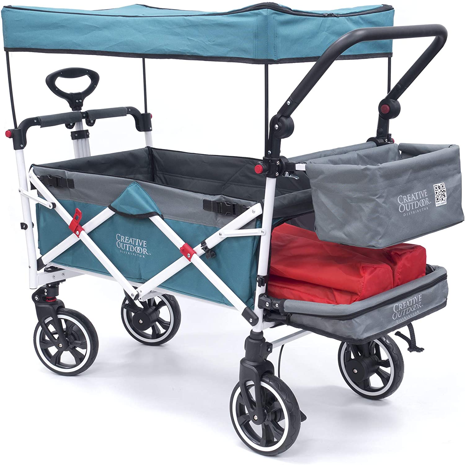 Creative Outdoor Push Pull Collapsible Folding Wagon Stroller Cart for Kids | Titanium Series | Beach Park Garden & Tailgate (Teal)""