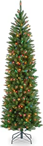 National Tree Company Pre-lit Artificial Christmas Tree | Includes Pre-strung Multi-Color Lights and Stand | Kingswood Fir Pencil - 7 ft