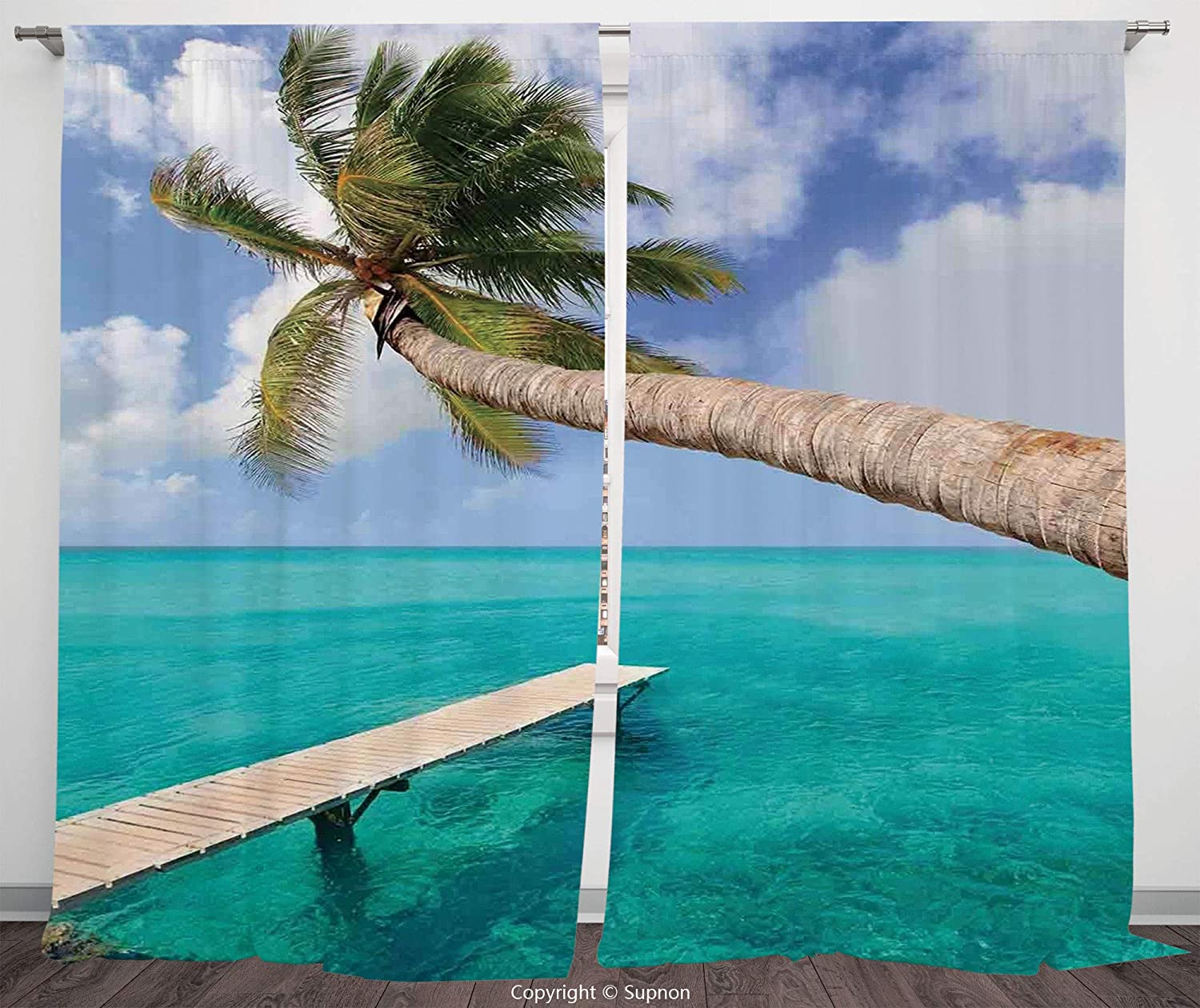 Rod Pocket Curtain Panel Polyester Translucent Curtains for Bedroom Living Room Dorm Kitchen Cafe/2 Curtain Panels/108 x 95 Inch/Beach,Palm Tree Bend Over Tropical Beach Clear Ocean Jetty Landmark Pic