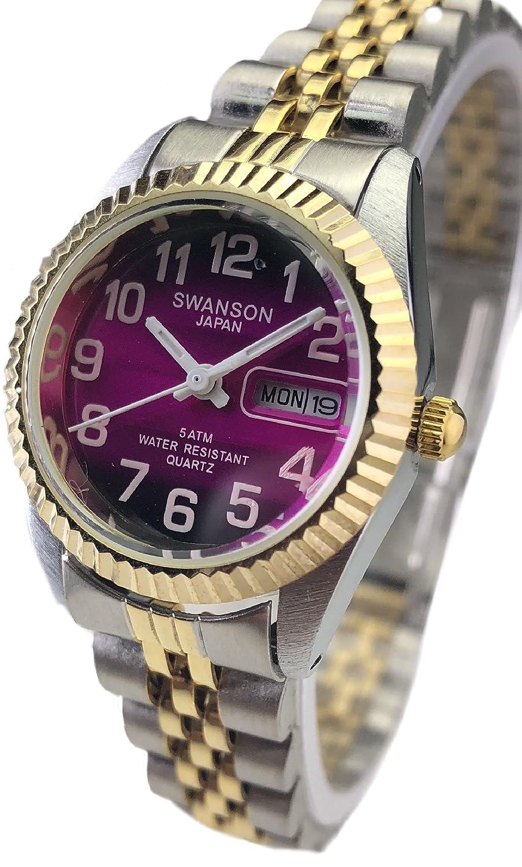 Amazon.com: Reloj de Mujer Swanson Japan Watch Dos Tonos,Numeros Grandes,Fecha,Dia Contra el Agua nuevo: Watches