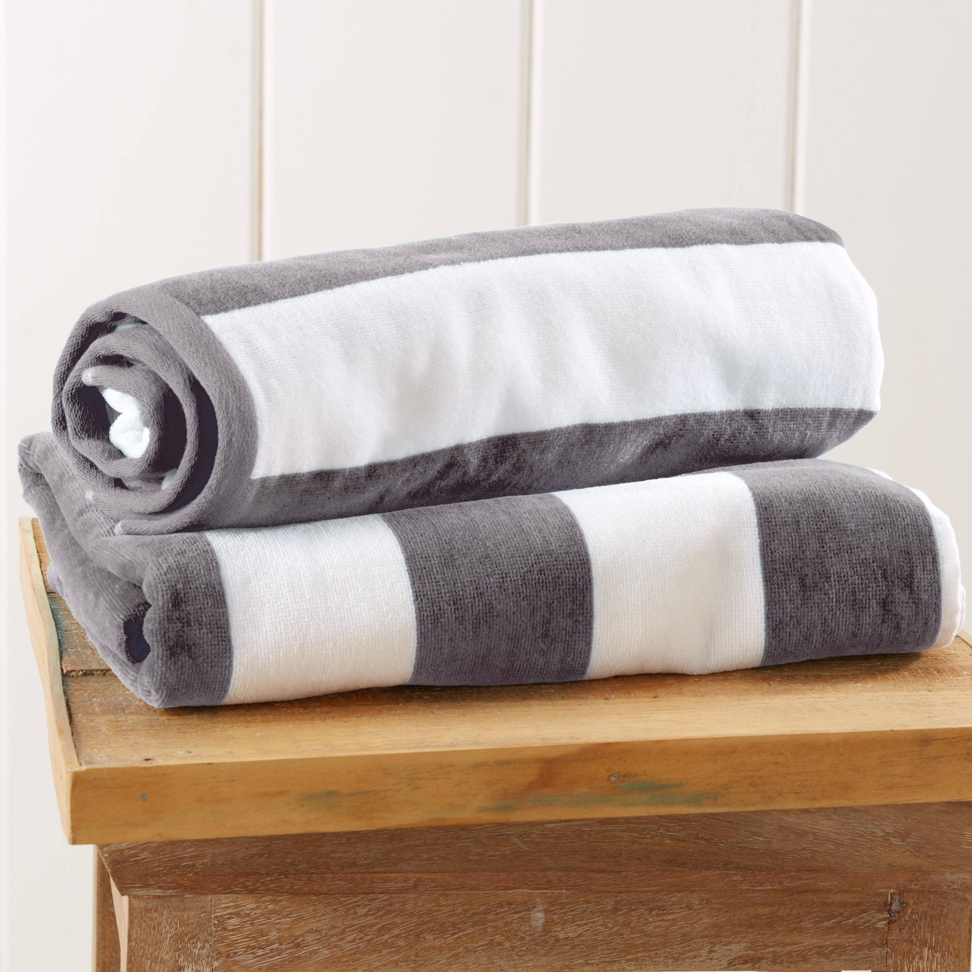 Great Bay Home 2-Pack 100% Cotton Plush Cabana Stripe Velour Beach Towel (30x60). By Brand. (Charcoal Grey)
