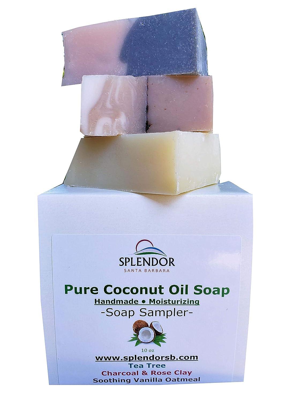 Variety Soap Sampler. Coconut Oil Face & Body Bar Soap. Handmade, Vegan, Moisturizing (Tea Tree, Vanilla Oat, Charcoal/Rose Clay) Natural Organic Herbs, Clays and Essential Oils
