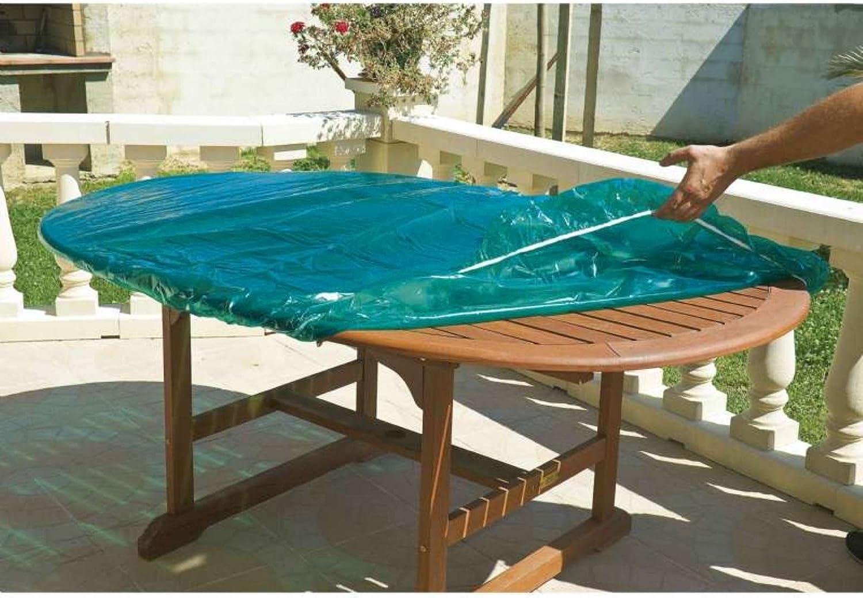 Maillesac JP0132-Funda para mesa de jardín mesa ovalada o rectangular, plástico, color verde translúcido, 120 x 180 cm, talla 4