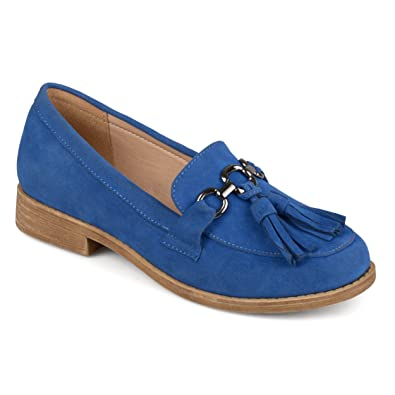 05e1f0dfd01 Journee Collection Womens Faux Suede Tassel Loafers Blue