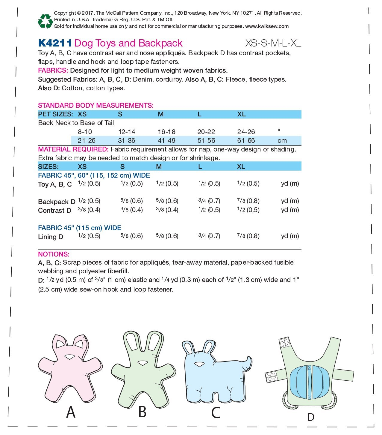 KWIK-SEW PATTERNS MCCALL \'s Patterns k4211os Perro Juguetes y ...