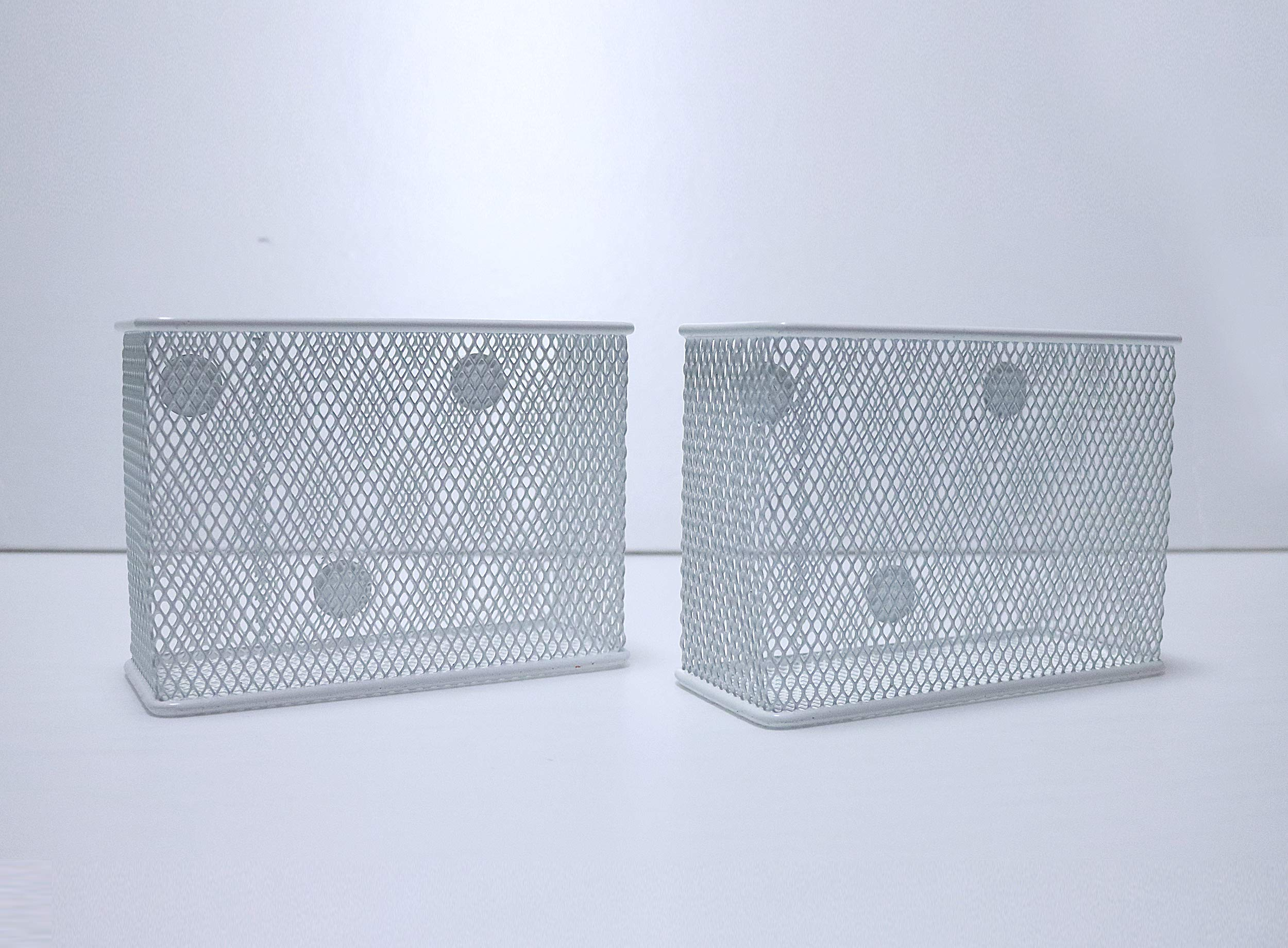 Wire Mesh Magnetic Storage Basket White(Set of 2), Container, Desk Tray, Office Supply Accessory Organizer for Refrigerator/Microwave Oven or Magnetic Surface in Kitchen or Office