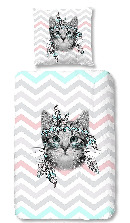 Aminata Kids – Bettwäsche 135x200 cm Kinder Mädchen Katzenbaby Katze Baumwolle + Reißverschluss  inkl. Gratis E-Book  Weiß Blau Rosa Tiere Indianer Chevron Kinderbettwäsche Bettwäscheset Bettbezug
