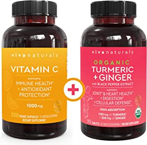 Viva Naturals Vitamin C 1000mg (250 Capsules) and Organic Turmeric Curcumin Supplement with Ginger Extract (90 Tablets) Bundle