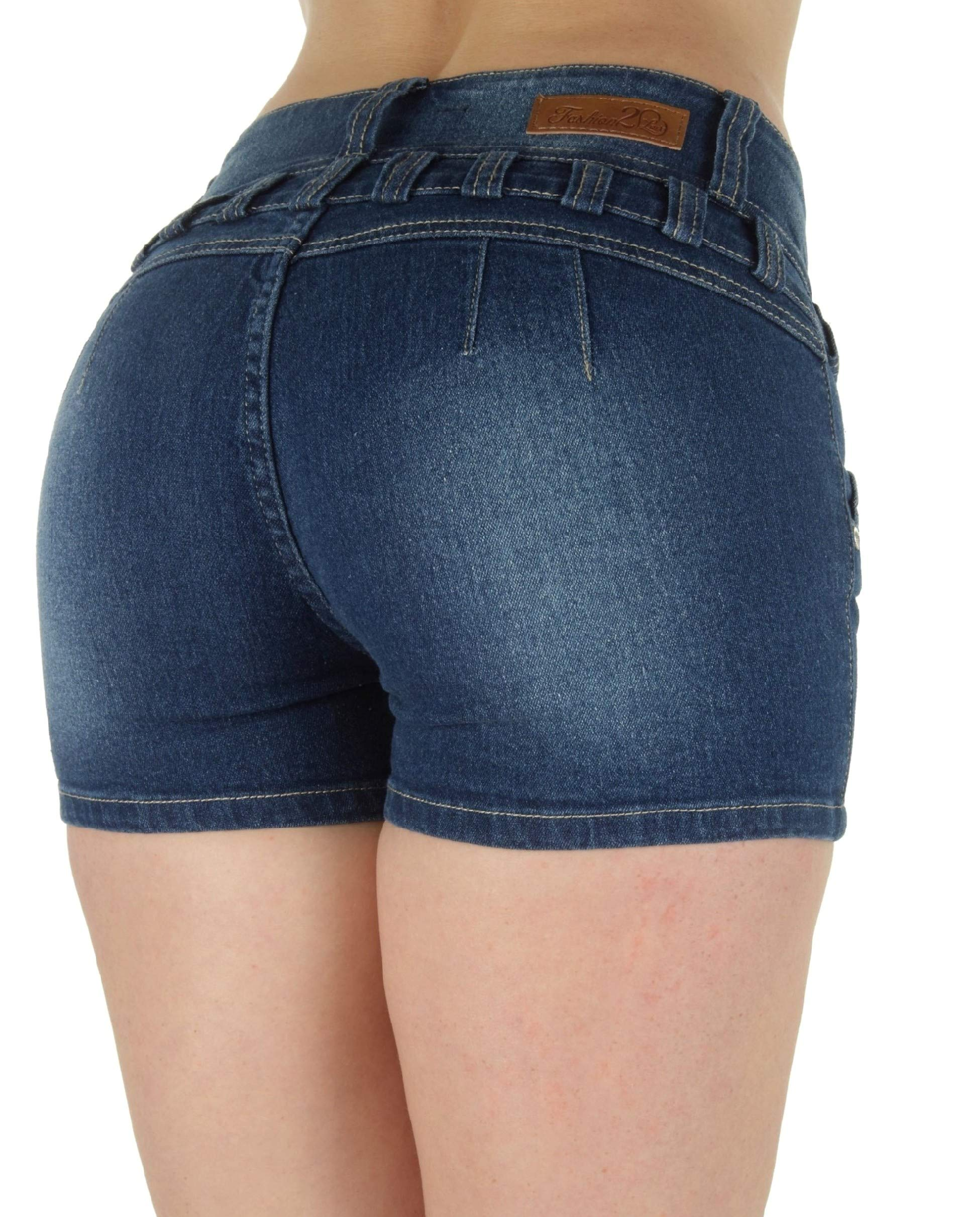 Fashion2Love M1213SH-P – Plus Size, Butt Lifting, Levanta Cola, High Waist Denim Booty Shorts in Navy Size 14