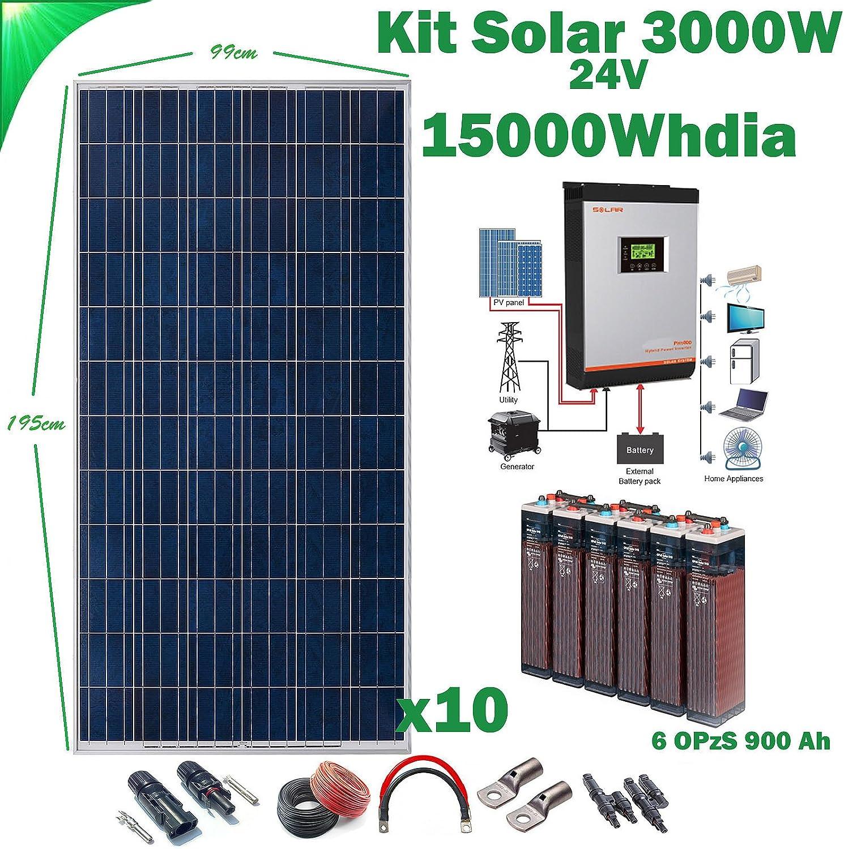 Kit Solar 24v 3000w/15000w día Inversor Multifunción 5kva Regulador MPPT 80A Batería 6OPzS 900Ah