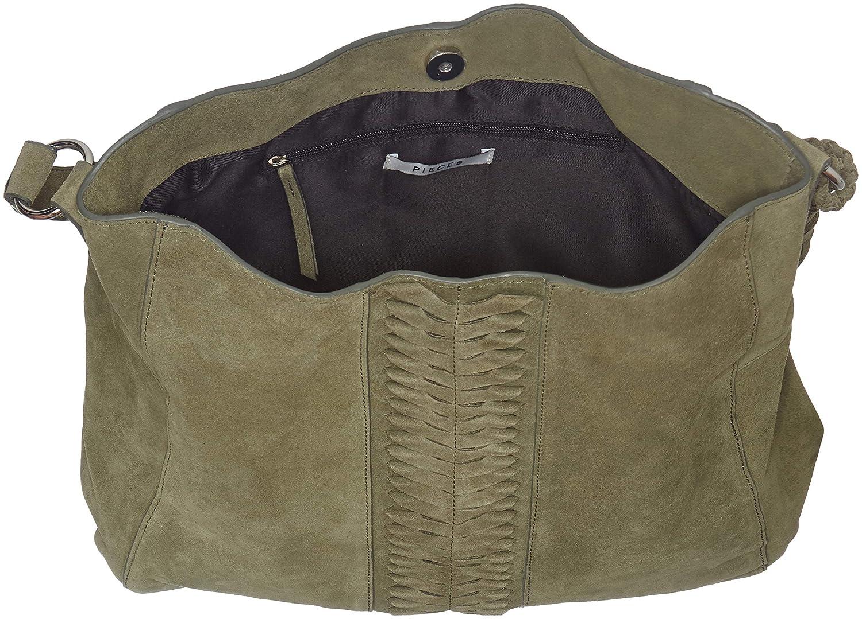 Damen Hobo winter Suede Pckorie Bag Schultertasche Pieces Grün xAnZqA
