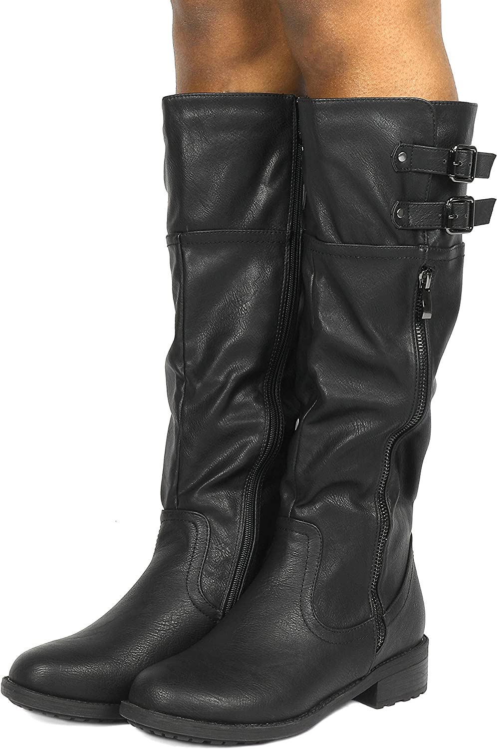 DREAM PAIRS Womens Knee High and up Riding Boots Wide-Calf