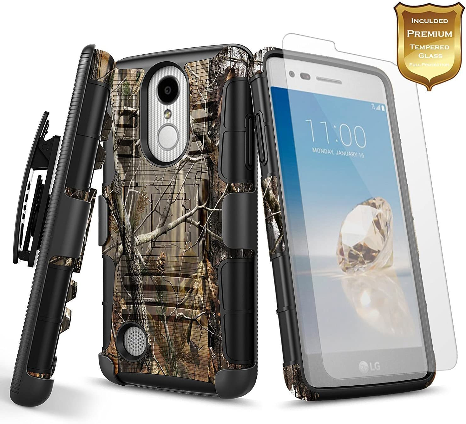NageBee LG K20 Plus Case, LG K20 / LG K20V / K20 V / K10 2017 / Harmony/LG Grace 4G LTE with [Tempered Glass Screen Protector], [Heavy Duty] Shockproof [Holster Belt Clip] Kickstand Combo Case -Camo