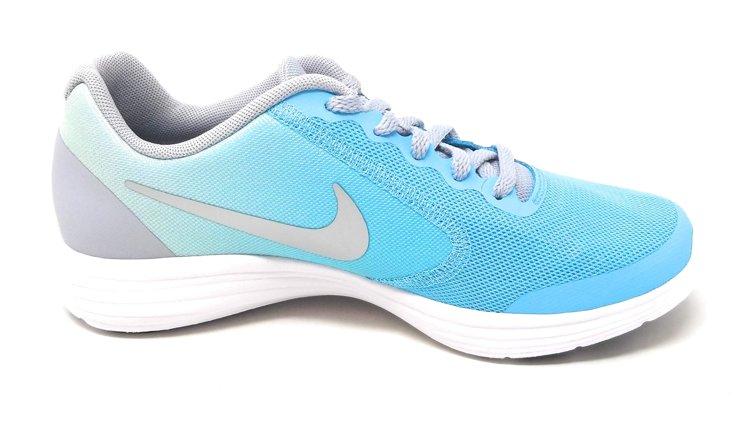 Nike Kids' Revolution 3 (GS) Running Shoes Polarized Blue/Metallic Silver 4.5 Y US by Nike (Image #2)