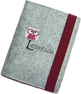 aufklappbare eBook Reader eReader Hülle LeseEule inkl. Stickerei Wollfilz Filz, Maßanfertigung, z.B. für Tolino Epos