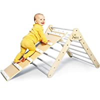 DomusJunior Pikler Triangle Climber with Ramp - Climbing Triangle Folds Flat for Easy Storage - CPSIA Certified for Maximum Safety