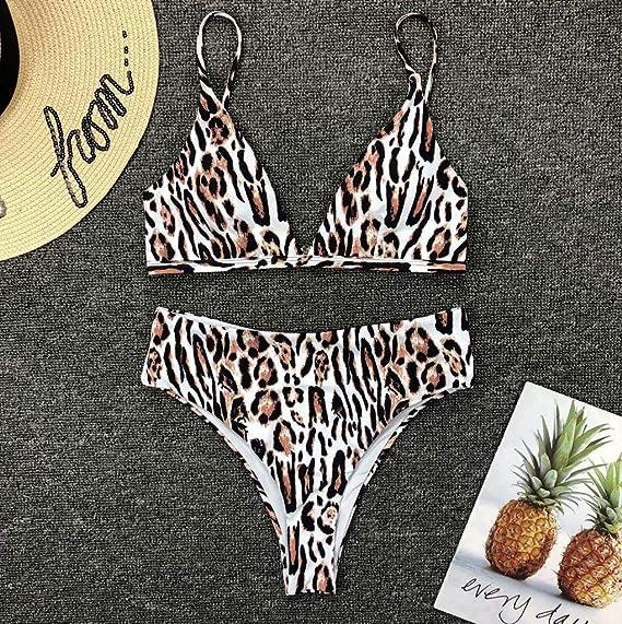 Mujeres Carta Vendaje Cintura Alta Triángulo Bikini Flores Caliente Vacaciones Verano Traje De Baño Swimwear Beachwear: Amazon.es: Electrónica