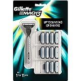 Gillette Mach3 Lamette di Ricambio per Rasoio, Confezione da 11 + 1 Manico Gratis
