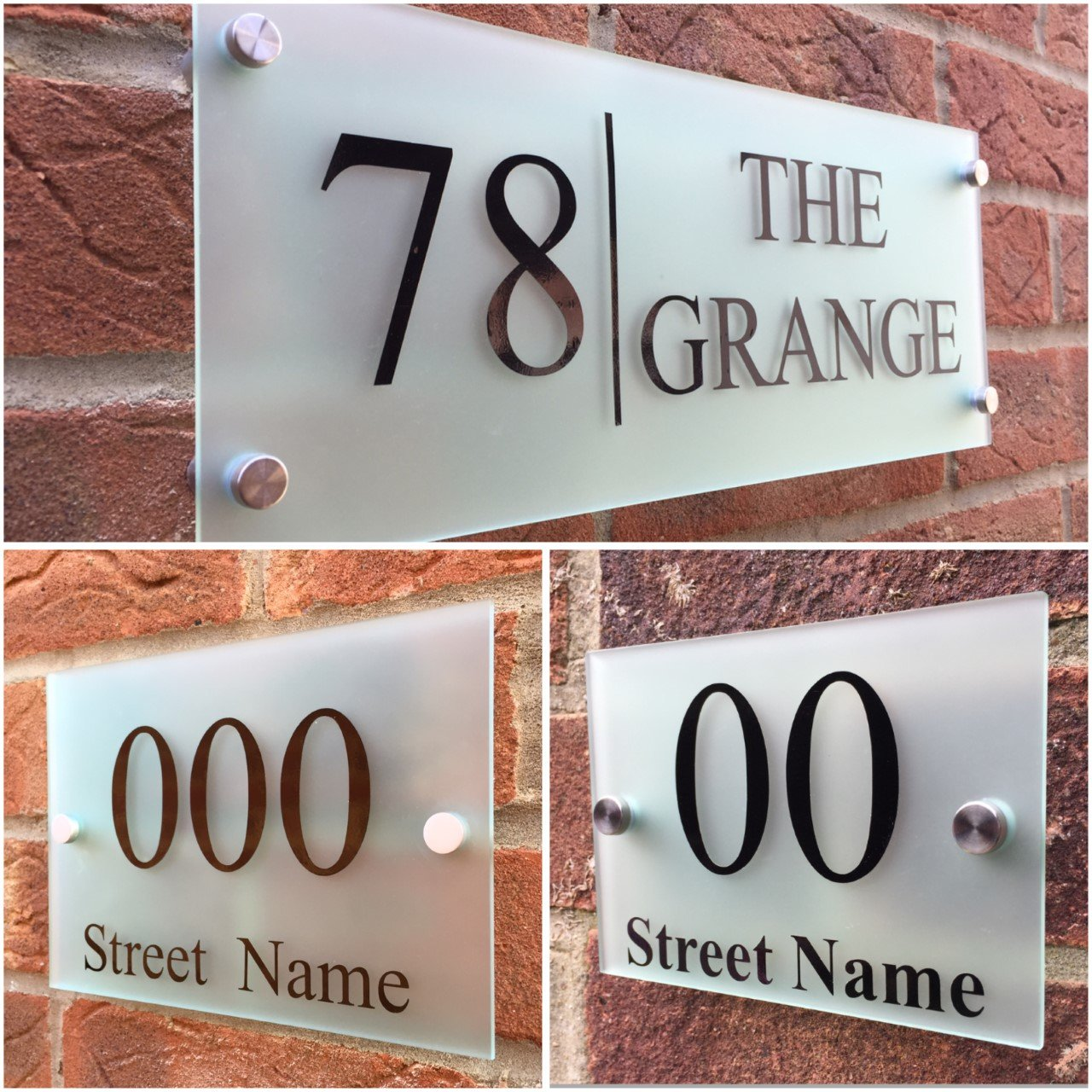 Amazon com modern house sign plaque door number street frosted glass effect large sizes 400mm x 140mm home kitchen