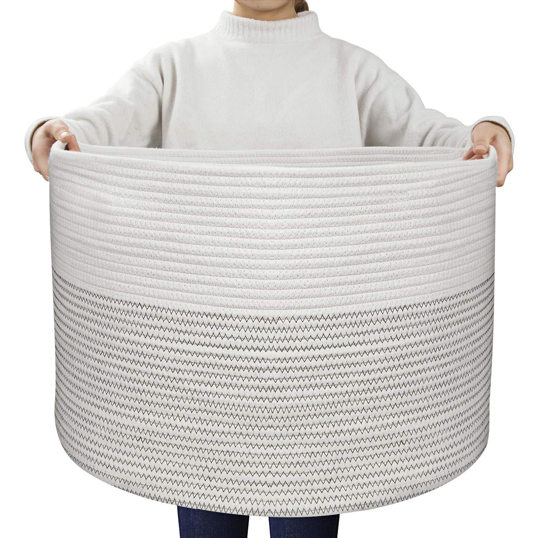 "UBBCARE Extra Large Cotton Rope Basket 21.7"" x 21.7"" x 13.8"" Blanket Basket Baby Woven Laundry Basket Toy Storage Bin Thread Nursery Hamper Black Stitch with Handles"