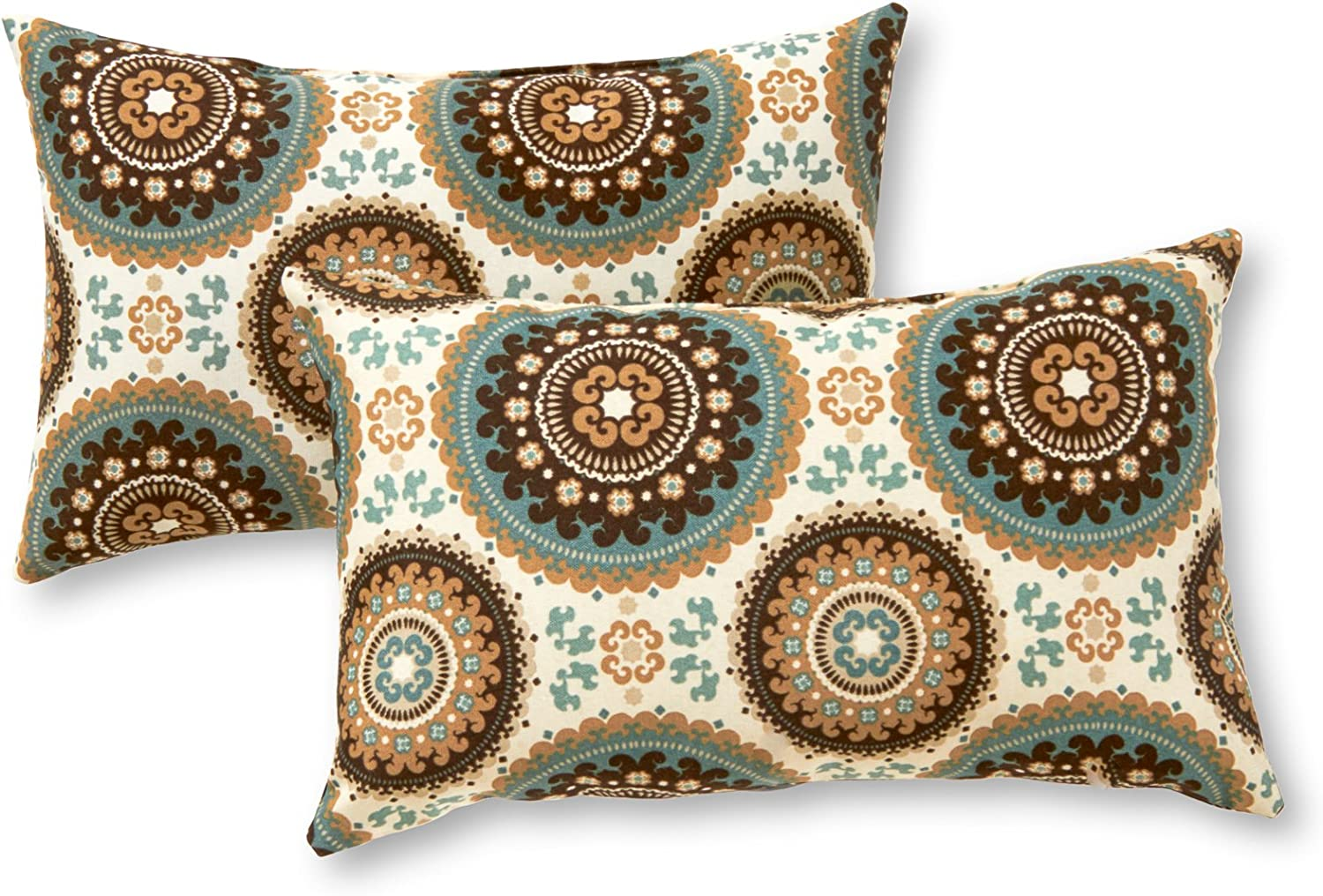 Greendale Home Fashions Set of 2 Outdoor 19x12-inch Rectangle Throw Pillows, Sage Medallion