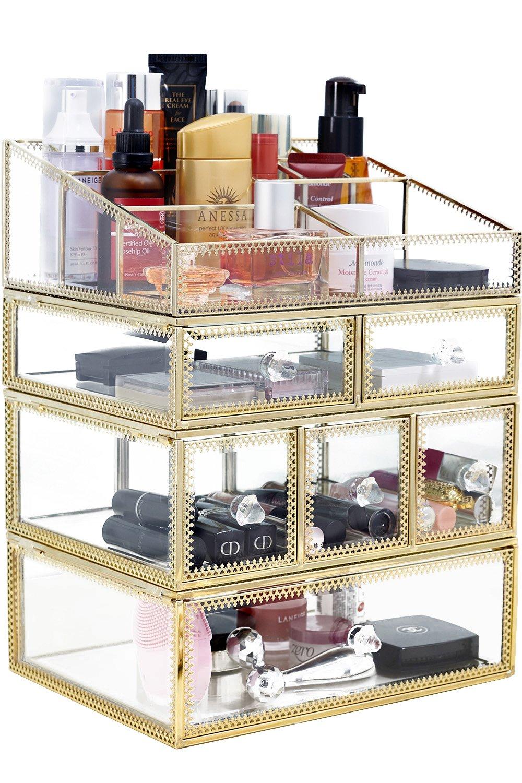 minopigo Antique Spacious Mirror Glass 6Drawers Vanity Tray Set/Gold Metal Cosmetic Makeup Storage/Stunning Jewelry Cube Organizer. It Consists of 4Separate Organizers Dustproof by minopigo (Image #7)