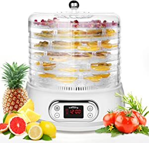 Food Dehydrator Machine 6 Trays Fruit Dryer Dehydrators Gift for Mother's Day Space-Saving Round with Digital Timer and Temperature Control for Beef Jerky, Vegetable, Herbs, Dog Treats