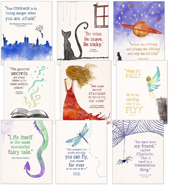 Children's Literature Inspirational Quote Poster Set. Discount Classroom Bundle