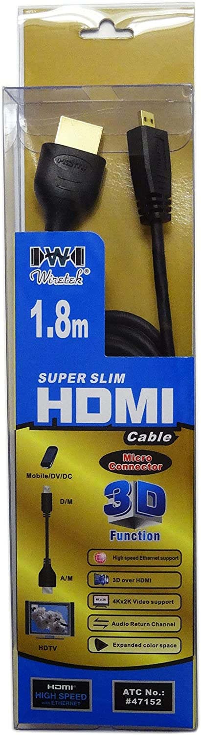 Tera Grand HD-WH337 1.8 Meter Super Slim High Speed HDMI Cable with Ethernet Male to HDMI A Male 36 AWG OD 3.5mm Micro HDMI Type D