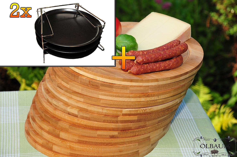 6 Stk. rundes Pizzablech mit gelochtem Boden + 2x 4 stufiger Edelstahl-Pizzablechhalter, TRADITIONELL, ca. 33 cm x 1 mm & 12 mal Schneidebrett - massive, hochwertige ca. 12 mm starke Picknick-Grill-Holzbretter mit Rillung natur, dunkles Bambus, Maße rund je ca. 25 cm Durchmesser als Bruschetta-Servierbrett, Brotzeitbrett, Bayerisches Brotzeitbrettl, NEU Massive Schneidebretter, Frühstücksbretter, Picknick Grill-Set