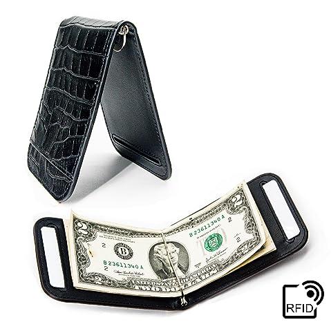 4b331e60ca31 Lethnic Slim Money Clip Wallet, RFID Blocking Bifold Leather Business Card  Holder