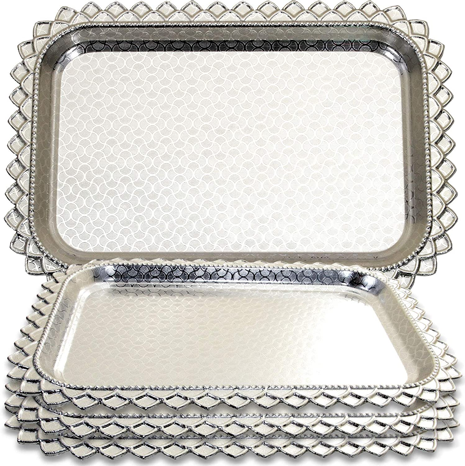 Maro Megastore (Pack of 4 Rectangular Floral Engraved Chrome Plated Mirror Serving Tray Victoria Design Decorative Wedding Birthday Buffet Party Dessert Food Platter 3285 (13.4