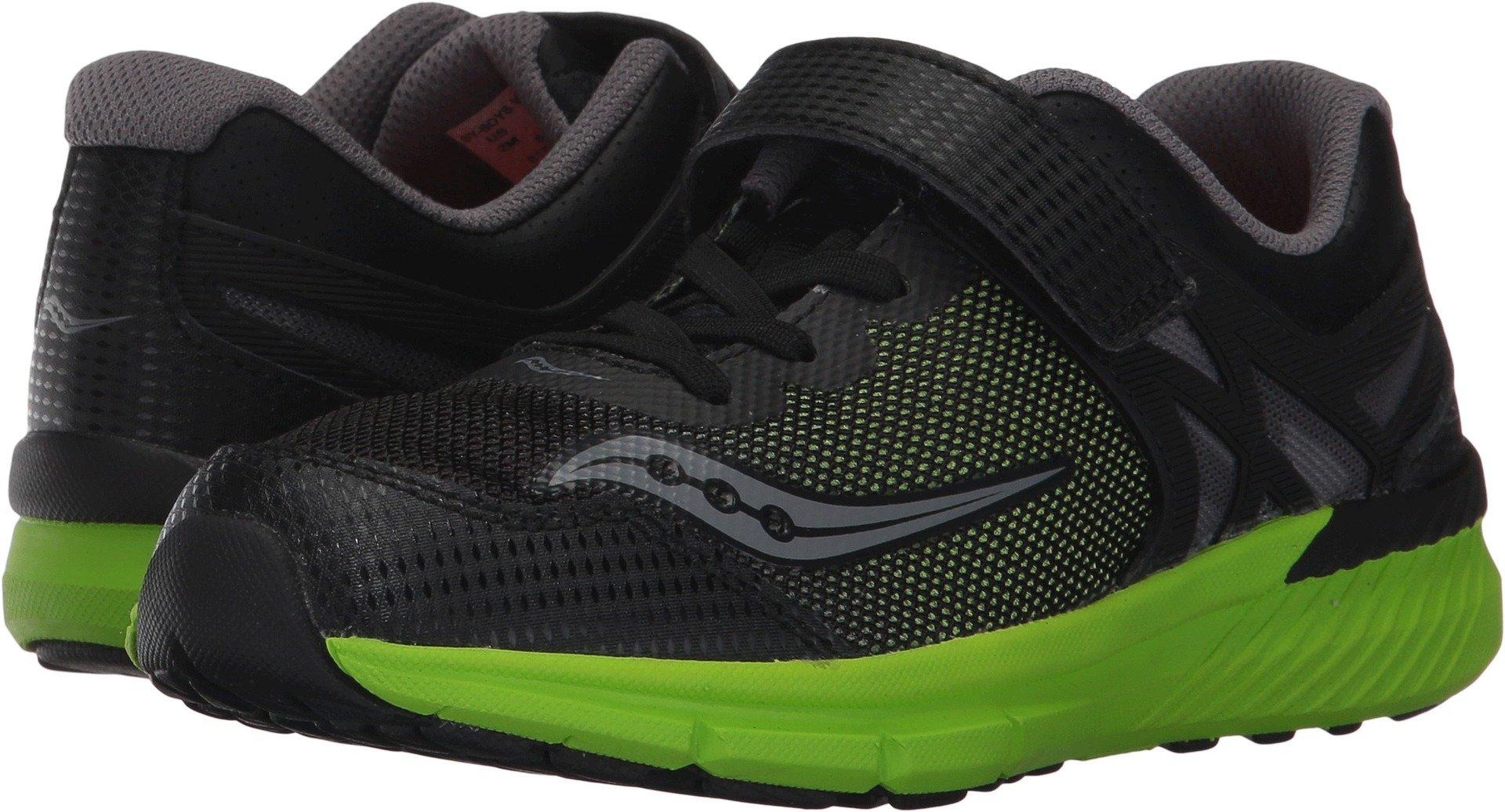 Saucony Velocity A/C Running Shoe (Little Kid), Black/Green, 11 W US Little Kid
