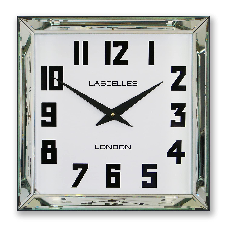 Roger lascelles 30 cm square manhattan mirror framed wall clock in roger lascelles 30 cm square manhattan mirror framed wall clock in amazon kitchen home amipublicfo Gallery